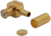 Connector, MCX Male Crimp, Teflon Insulation, Gold Pin, Gold Plated Body, Right Angle, for TCC Cable Group L -- 27-02L-TGG