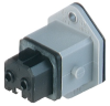 Rectangular Receptacle Power Connector (ST Series): Female, front mount with flange, 2-pin+PE, grey housing, 230 V AC/DC, 16 A AC/6 A DC -- STAKEI 2 - Image