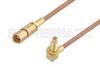 SSMC Plug to SSMC Jack Right Angle Bulkhead Cable 12 Inch Length Using RG178 Coax -- PE3C4459-12 -Image