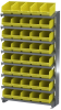 Akro-Mils APRS 400 lb Blue / Green / Red / White / Yellow Gray Powder Coated Steel 16 ga Single Sided Fixed Rack - 36 3/4 in Overall Length - 40 Bins - Bins Included - APRS090 -- APRS090 - Image