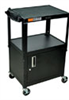 Steel Utility Cart with Three Flat Shelves and Workstation with cabinet, Black -- EW-47600-66