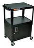 AVJ42C - Steel Utility Cart with Three Flat Shelves and cabinet, 15-ft US plug, Black -- GO-47600-66