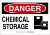 Brady B-555 Aluminum Rectangle White Chemical, Biohazard, Hazardous & Flammable Material Sign - 14 in Width x 10 in Height - TEXT: DANGER CHEMICAL STORAGE - 131748 -- 754473-82392