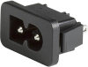 IEC Appliance Inlet C8 polarized, Snap-in Mounting, Front Side, Solder, Quick Connect or PCB Terminal