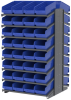 Akro-Mils 1800 lb Blue Gray Powder Coated Steel 16 ga Double Sided Fixed Rack - 36 3/4 in Overall Length - 64 Bins - Bins Included - APRD18088 BLUE -- APRD18088 BLUE - Image
