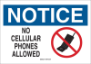 Brady B-401 High Impact Polystyrene Rectangle White Electronics Sign - 14 in Width x 10 in Height - TEXT: NOTICE NO CELLULAR PHONES ALLOWED - 95500 -- 754476-95500