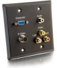 Double Gang HD15 VGA + 3.5mm + S-Video + RCA Audio/Video Wall Plate - Black -- 2225-40969-ADT - Image