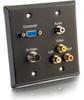 Double Gang HD15 VGA + 3.5mm + S-Video + RCA Audio/Video Wall Plate - Black -- 2225-40969-ADT