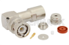 BNC Male Right Angle Connector Clamp/Solder Attachment For RG178, RG196 -- PE4388 -Image