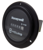 Honeywell Deluxe ac Hour meter, round opening, three-screw flange, #8-32 screw and cupwasher termination, 100K hours, 22 Vac to 26 Vac operating voltage, 24 Vac, 60 Hz, faceplate: satin black with whi -- 20111 -- View Larger Image