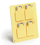 Wallplate w/ four duplex outlets and covers
