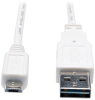 Universal Reversible USB 2.0 Cable (Reversible A to 5Pin Micro B M/M) White, 3-ft. -- UR050-003-WH - Image