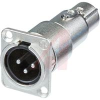 Adapter 3 pole male receptacle to female cable connector, feedthrough XLR, panel -- 70088423 - Image