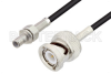 SMB Jack to BNC Male Cable 12 Inch Length Using RG174 Coax, LF Solder -- PE3W01494LF-12 -Image