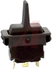 Switch, Rocker, FULL Size, EURO LOOK, SPDT, (ON)-OFF-(ON), TWO FACE BLACK PADDLE -- 70155686 - Image