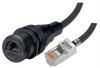 IP68 Ruggedized Cat5e Cable, ANOD RJ45 Jack / Standard RJ45 Plug w/ FR-TPE Cable & DustCap, 3.0m -- TRD8RG8-03 -Image