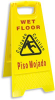 Elky Pro® Bilingual Wet Floor/Caution Folding Sign -- COM-6109B