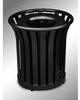 Americana Open Top Outdoor Metal Trash Can -- GPR410-BLACK