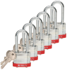 Brady Red Steel 5-pin Keyed & Safety Padlock 51290 - 1 9/16 in Width - 1 1/3 in Height - 17/64 in Shackle Diameter - 2 Key(s) Included - 754476-51290 -- 754476-51290