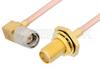 SMA Male Right Angle to SMA Female Bulkhead Cable 12 Inch Length Using RG405 Coax, RoHS -- PE3925LF-12 -Image