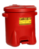 6-Gallon Polyethylene Oily Waste Can with Foot Lever - Red -- CAN107-RED