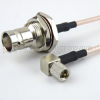 RA 10-32 Male (Plug) to BNC Female (Jack) Bulkhead Cable M17/113-RG316 Coax Up To 2 GHz in 48 Inch -- FMC1438316-48 -Image