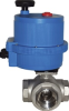 "ELECTRIC ACTUATOR WITH 3 WAY ""T"" STAINLESS STEEL BALL VALVE, 1/4"" NPTF, FULL PORT, DIRECT MOUNT-24AC/DC -- S3TE02-0-5"