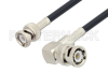 BNC Male to BNC Male Right Angle Cable 50 cm Length Using LMR-195 Coax -- PE3W01992-50CM -Image