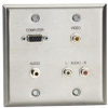 A/V Stainless Wallplate, Double-Gang, (1) VGA HD15 F, (1) 3.5-mm F, (3) RCA F Feed-Through Couplers -- WP820-Image