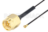 SMA Male to WMCX 1.6 Plug Cable 6 Inch Length Using 0.81mm Coax, RoHS -- PE3CA1029-6 -Image