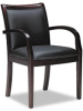 Ladder-Back Wood Guest Chair, Mahogany/Black Leather -- MLNVSC7ABMAH