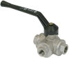 Three-way ball valve for manual switching of vacuum and compressed air KVD 10 3/2 -- 10.05.08.00002 - Image