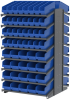 Akro-Mils 1800 lb Blue Gray Powder Coated Steel 16 ga Double Sided Fixed Rack - 36 3/4 in Overall Length - 104 Bins - Bins Included - APRD18AST00 BLUE -- APRD18AST00 BLUE - Image