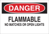Brady B-401 Polystyrene Rectangle White Chemical, Biohazard, Hazardous & Flammable Material Sign - 14 in Width x 10 in Height - TEXT: DANGER FLAMMABLE NO MATCHES OR OPEN LIGHTS - 25671 -- 754476-25671