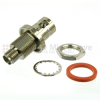 Bulkhead SMA Female (Jack) to BNC Female (Jack) Adapter, Passivated Stainless Steel Body, High Temp, 1.3 VSWR -- SM4703 - Image