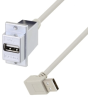 USB A Female Panel Mount to Type A Male 90 Degree Up 12