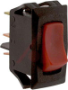 Switch, Rocker, Curvette, Snap-In, SPST, On-None-Off, Lighted, Red -- 70131593 - Image
