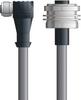 LAPP UNITRONIC® Devicenet™ Thin Panel Mount Extension Cordset - 5 positions female M12 90° to 5 positions female 7/8 inch bulkhead - Continuous Flex - Gray PVC - 1m -- OLFDN4110083F01 -Image