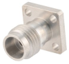 2.4mm Female (Jack) Connector Field Replaceable 4 Hole Flange (Panel Mount) .250 inch Hole Spacing 0.009 inch Pin with Metal Contact Ring -- FMCN1664 -- View Larger Image