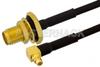 SMA Female Bulkhead to MMCX Plug Right Angle Semi-Flexible Cable 18 Inch Length Using PE-SR405FLJ Coax with HeatShrink, LF Solder, RoHS -- PE39436-18 -Image