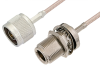 N Male to N Female Bulkhead Cable 60 Inch Length Using RG316-DS Coax -- PE34198-60 -Image