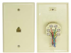 RJ12 6P6C Single Wall Plate Jacks -- 68WP-31