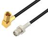 SMA Female to SSMC Plug Right Angle Low Loss Cable 72 Inch Length Using LMR-100 Coax -- PE3C4427-72 -Image