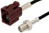 SMA Female to Bordeaux FAKRA Jack Cable 24 Inch Length Using PE-C100-LSZH Coax -- PE39349D-24 -Image