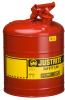Justrite Red Stainless Steel 5 gal Safety Can - 16.88 in Height - 11.75 in Overall Diameter - JUSTRITE 7150100 -- JUSTRITE 7150100
