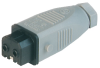 Rectangular Field Attachable Power Connector (ST Series): Female, straight, 2-pin+PE, grey housing, 230 V AC/DC, 16 A AC/6 A DC -- STAK 2 - Image
