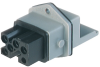 Rectangular Receptacle Power Connector (ST Series): Female, front mount with flange, 5-pin+PE, grey housing, 400 V AC / 230 V DC, 10 A AC/6 A DC -- STAKEI 5 - Image