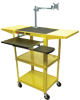 LUXOR Adjustable-Height Mobile Computer Carts -- 1442700