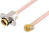 Slide-On BMA Jack 2 Hole Flange to SMP Female Right Angle Cable 12 Inch Length Using RG405 Coax -- PE3C4897-12 -Image
