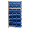 "36"" x 18"" x 74"" - 8 Shelf- Wire Shelving Unit with (21) Blue Bins -- WSBQ225B -- View Larger Image"